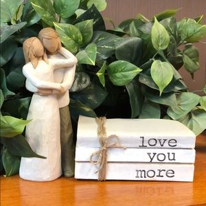 """3 farmhouse inspired books stamped """"Love you more"""""""
